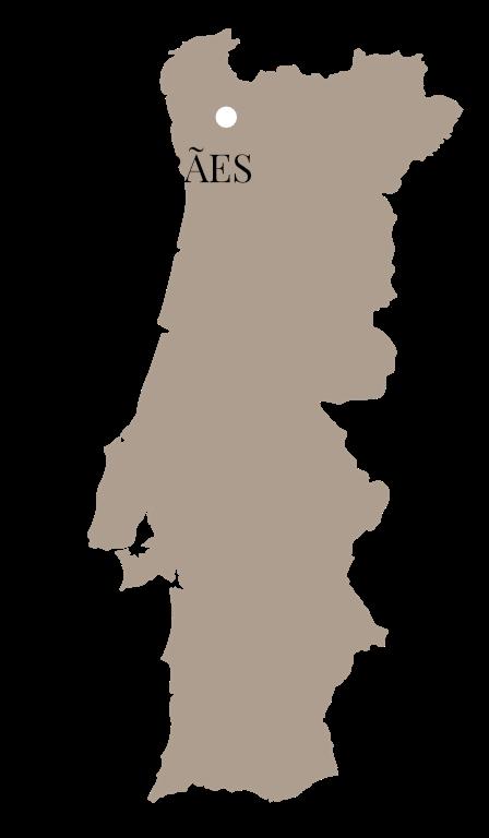 Kaart van Portugal met de stad Guimarães